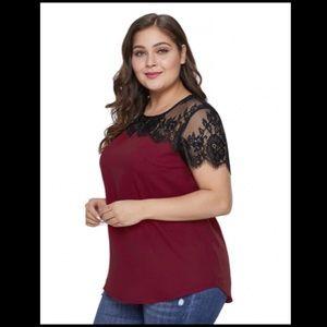 Tops - 🍷🎉HP🎉🍷Wine w/ Black Lace Plus Size Top! 🍷